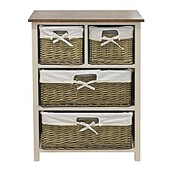 Debenhams - Soft white and wicker 'Cotswold' 4 drawer chest