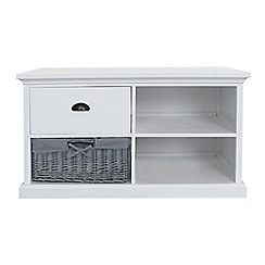 Debenhams - White and grey wicker 'Sandringham' TV unit