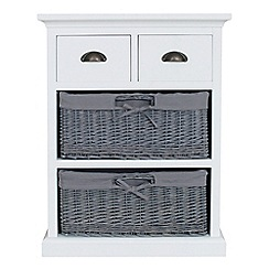Debenhams - White and grey wicker 'Sandringham' 4 drawer chest