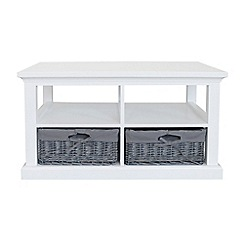 Debenhams - White and grey wicker 'Sandringham' coffee table with 2 baskets