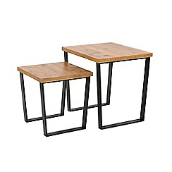 Debenhams - Pine effect and metal 'Brunel' nest of 2 tables