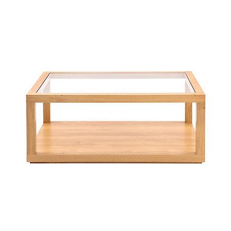 debenhams oak effect and glass 'benjamin' coffee table | debenhams