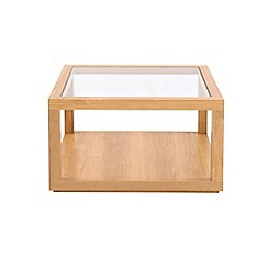 Debenhams - Oak effect and glass 'Benjamin' square coffee table