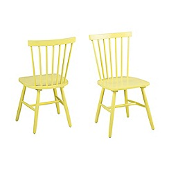 Debenhams - Pair of yellow 'Rhone' chairs