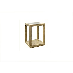 Debenhams - Oak effect 'Cleves' square glass side table