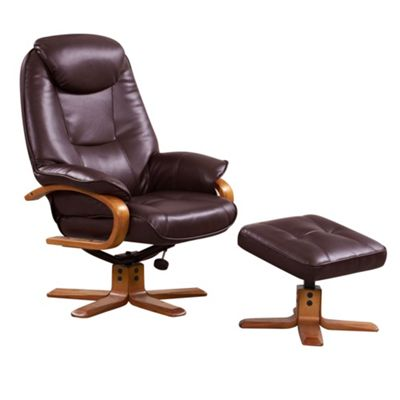 sc 1 st  Debenhams & Debenhams Bonded leather u0027Bjornu0027 recliner chair and stool | Debenhams islam-shia.org