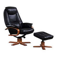 Debenhams - Bonded leather 'Bjorn' recliner chair and stool