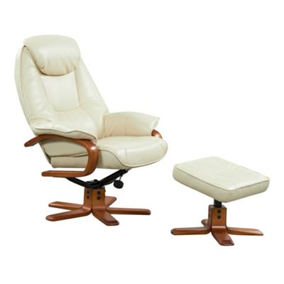 Cream bonded leather Bjorn recliner chair and stool set