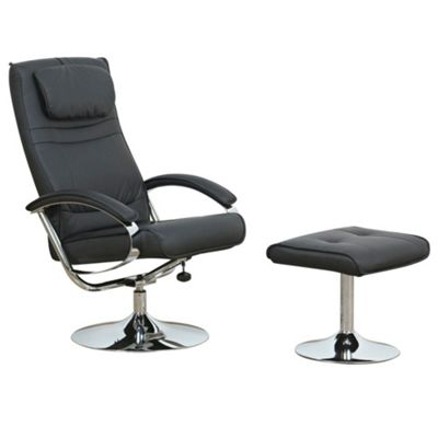 Black Cincinnati Recliner Chair & Stool