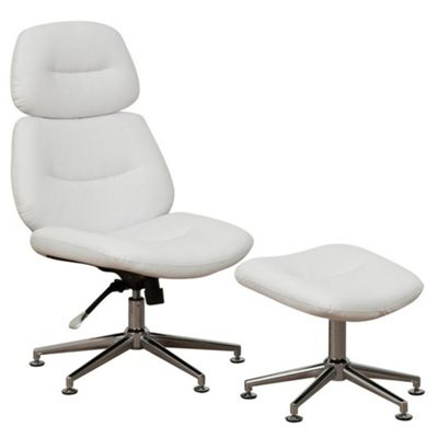 White Alabama Tilt & Lock Recliner Chair & Stool