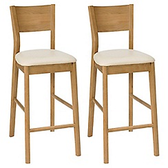 Debenhams - Pair of oak effect 'Milano' bar stools
