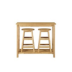 Debenhams - Oak effect 'Malmo' table and 2 bar stools