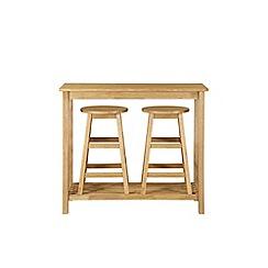 Debenhams - Oak effect 'Malmo' table and 2 bar stools