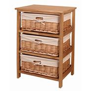 Natural 'Wood and weave' three drawer chest