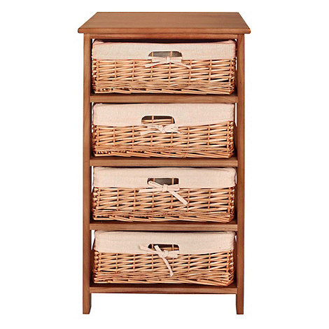 Debenhams - Natural +Wood and Weave+ 4 drawer chest