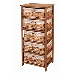 Debenhams - Natural 'Wood and Weave' 5 drawer chest