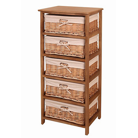 Debenhams - Natural +Wood and Weave+ 5 drawer chest