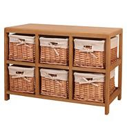 Natural 'Wood and weave' six drawer chest