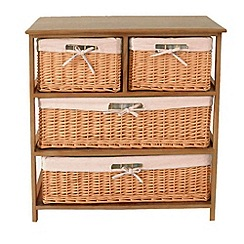 Debenhams - Natural 'Wood and Weave' 4 drawer chest