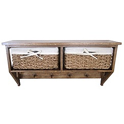 Debenhams - Brown wicker 'Olympia' 2 drawer wall unit