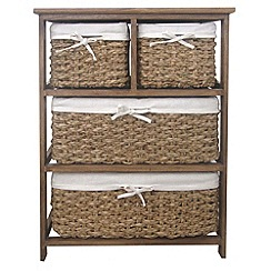 Debenhams - Brown wicker 'Olympia' wide 4 drawer chest
