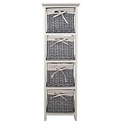 Debenhams - Grey wicker 'Athena' tall 4 drawer chest