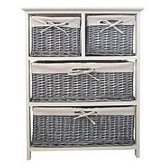 Debenhams - Grey wicker 'Athena' wide 4 drawer chest