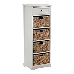 Debenhams - Cream and wicker 'Vermont' tall chest