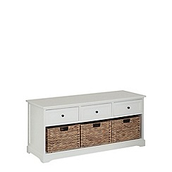 Debenhams - Cream and wicker 'Vermont' storage bench