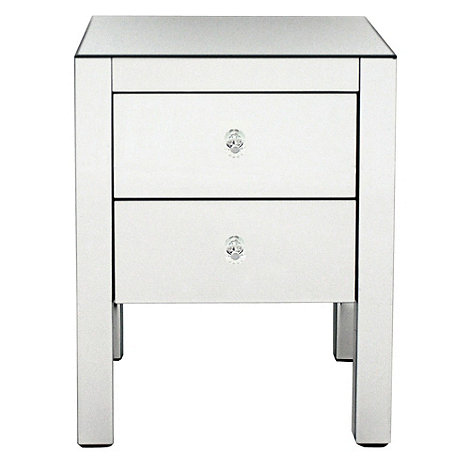 Debenhams - Mirrored bedside cabinet with 2 drawers