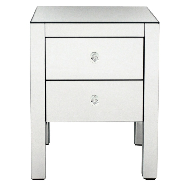 Debenhams Mirrored Bedside Cabinet With 2 Drawers, Silver
