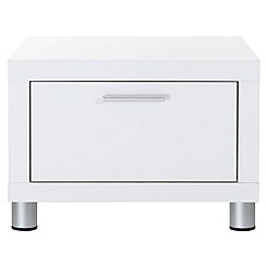 Debenhams - White gloss 'Maxi' bedside cabinet with single drawer