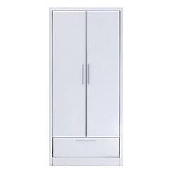Debenhams - White gloss 'Maxi' double wardrobe with drawer