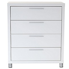 Debenhams - White gloss 'Maxi' 4 drawer chest