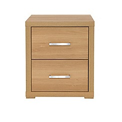 Debenhams - Oak effect 'Benjamin' bedside cabinet with 2 drawers