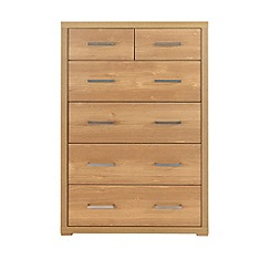Debenhams - Oak effect 'Benjamin' 6 drawer chest