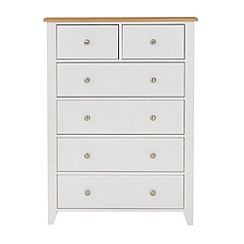 Debenhams - Oak effect and white 'Georgia' 6 drawer chest