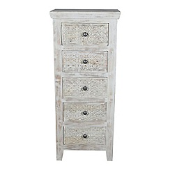 Debenhams - Mango wood 'Ashoka' tall 5 drawer chest