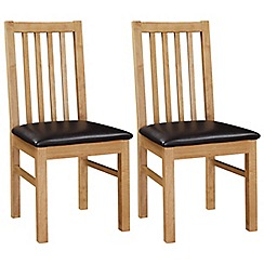Debenhams - Pair of oak 'Fenton' chairs with brown seat pads