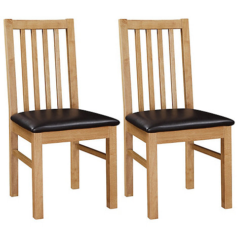 Debenhams - Pair of oak +Fenton+ chairs with brown seat pads