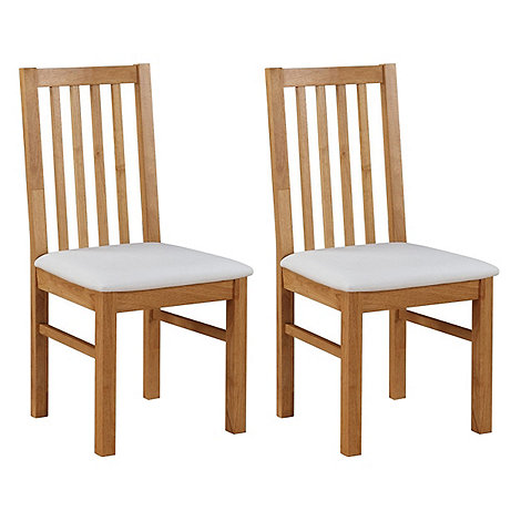 Debenhams - Pair of oak +Fenton+ chairs with white seat pads