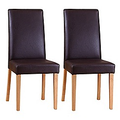 Debenhams - Pair of brown 'Ontario' dining chairs with light oak legs
