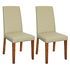 Debenhams - Pair of cream 'Ontario' dining chairs with light oak legs