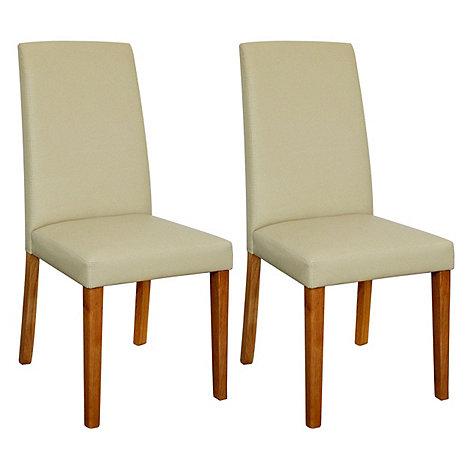 Debenhams - Pair of cream +Ontario+ dining chairs with light oak legs