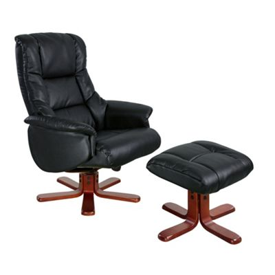 Black Bonded Leather Elliot Recliner Chair & Stool