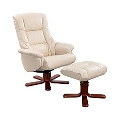 Debenhams - Bonded leather 'Elliot' recliner chair & stool