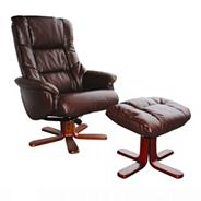 Brown bonded leather Elliot recliner chair & stool