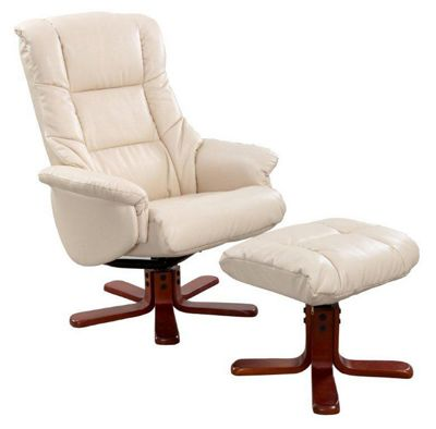 Cream Bonded Leather Elliot Recliner Chair & Stool