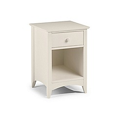 Debenhams - Soft white 'Leo' bedside cabinet with single drawer