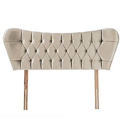 Airsprung - Beige velvet diamante finished 'Luxe' headboard